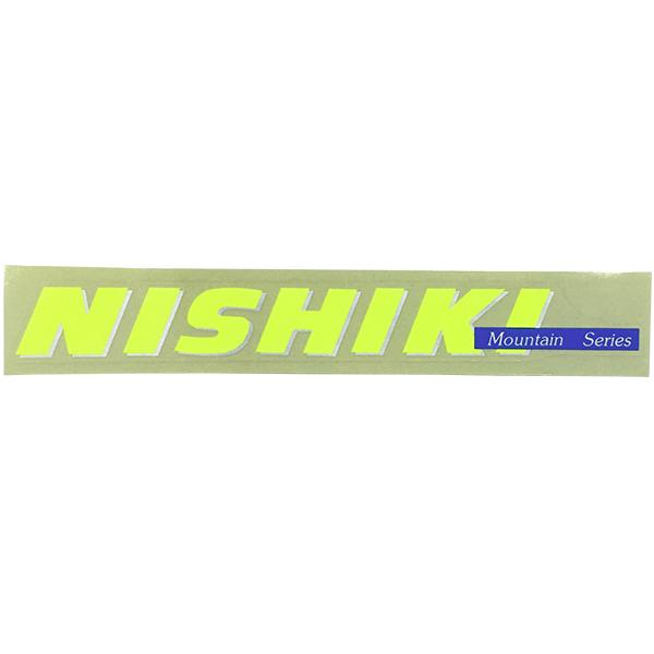 NISHIKI(ニシキ)ビンテージロゴステッカー(ネオンイエロー/シルバーアウトライン/ネイビー)