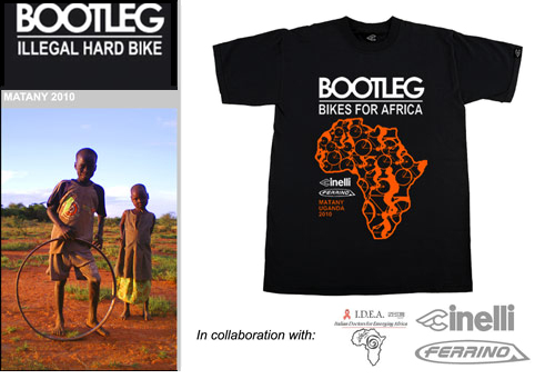 Cinelli(チネリ)Tシャツ(BOOTLEG(ブートレッグ) FOR AFRICA / ブラック)