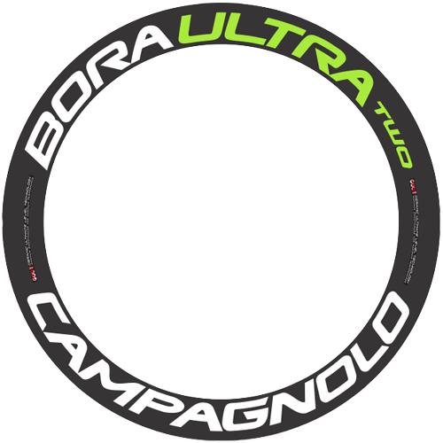 CAMPAGNOLO(カンパニョーロ)BORA ULTRA(ボラウルトラ)TWO 60 ホイール用ロゴステッカー(リム1本分セット / ホワイト / グリーン)