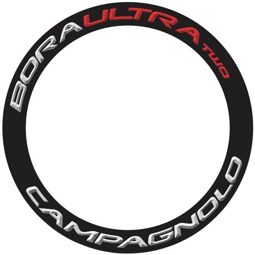 CAMPAGNOLO(カンパニョーロ)BORA ULTRA(ボラウルトラ)TWO 60 ホイール用ロゴステッカー(リム1本分セット / シルバーグレー / レッド)