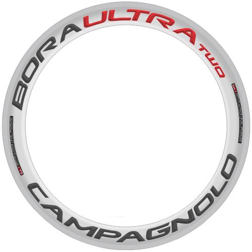 CAMPAGNOLO(カンパニョーロ)BORA ULTRA TWO 60 ホイール用ロゴステッカー(リム1本分セット / グレー / レッド)