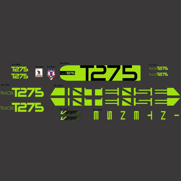 INTENSE(インテンス)フレームステッカーセット(TRACER(トレーサー)T275 / ライムグリーン)