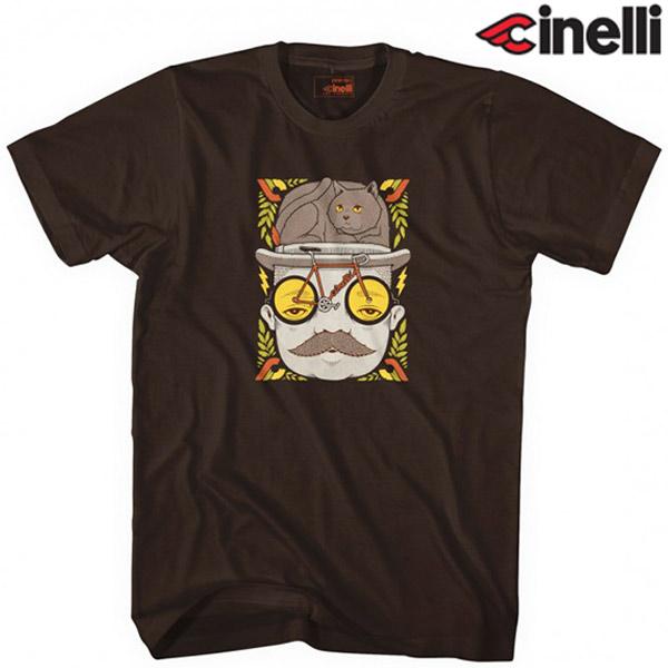 Cinelli(チネリ)×JEREMY FISH(ジェレミー フィッシュ)MR CAT HAT Tシャツ(ブラウン)