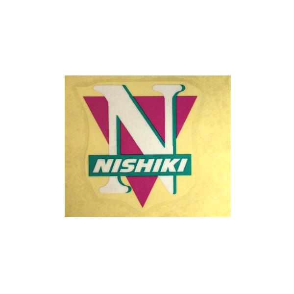 NISHIKI(ニシキ)ビンテージヘッドマーク ステッカー(ホワイトロゴ/マジェンタ/グリーン)