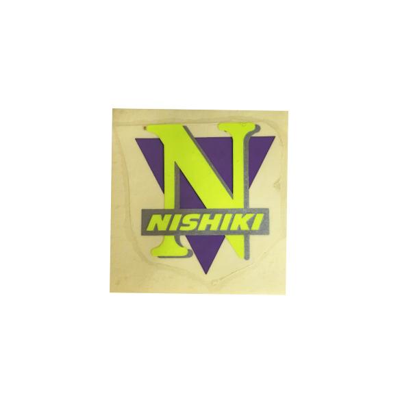NISHIKI(ニシキ)ビンテージヘッドマーク ステッカー(ネオンイエロー/パープル)