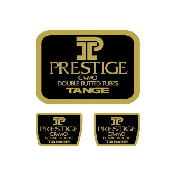 TANGE(タンゲ)PRESTIGE(プレステージ)V2フレーム&フロントフォークチュービングステッカーセット(ブラック/ゴールド)