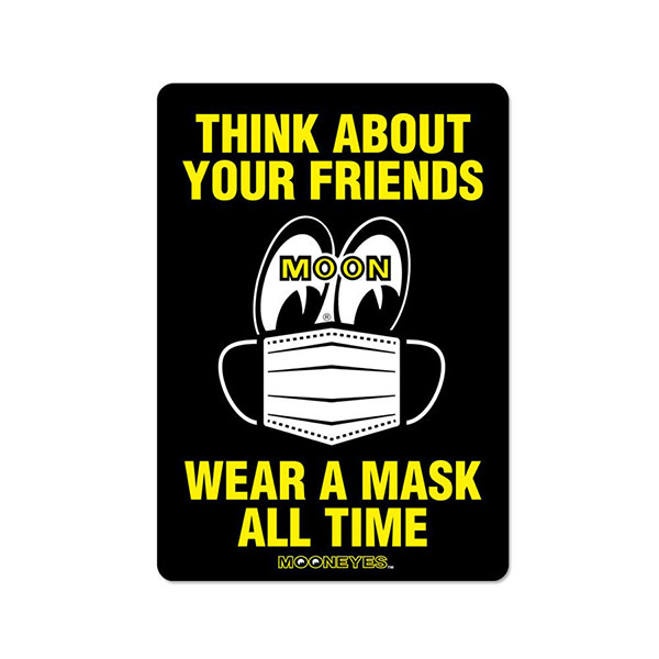 MOONEYES(ムーンアイズ)ステッカー(マスク着用/wear a mask all time/ブラック/イエローロゴ)